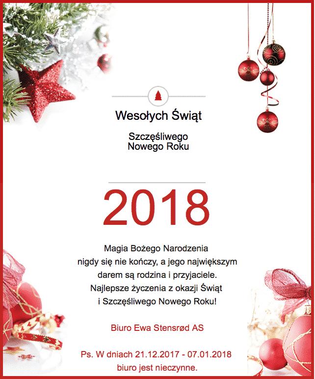 Życzenia z okazji Świąt Bożego Narodzenia i Nowego Roku 2018